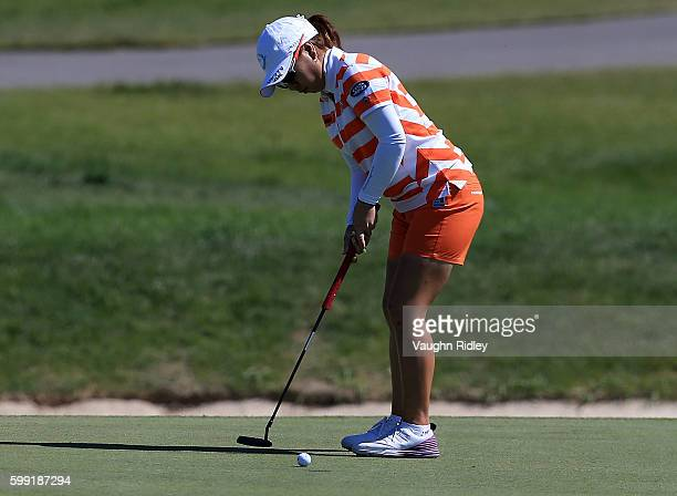 Mika Miyazato of Japan putts on the 9th green during the final round of the Manulife LPGA Classic at Whistle Bear Golf Club on September 4 2016 in...
