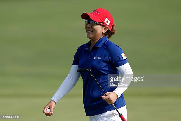 Mika Miyazato of Japan reacts after making birdie on the second green during the fourball session of the 2016 UL International Crown at the Merit...