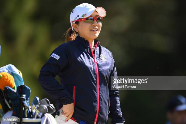 Mika Miyazato of Japan smiles during the first round of the KKT Cup Vantelin Ladies Open at the Kumamoto Kuko Country Club on April 13 2018 in Kikuyo...