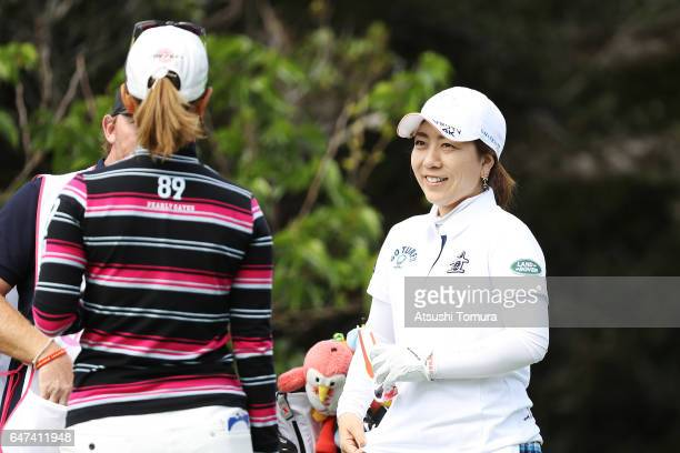 Mika Miyazato of Japan smiles during the second round of the Daikin Orchid Ladies Golf Tournament at the Ryukyu Golf Club on March 3 2017 in Nanjo...