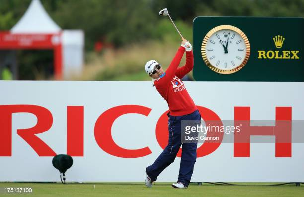 Mika Miyazato of Japan tees off during the first round of the Ricoh Women's British Open at the Old Course St Andrews on August 1 2013 in St Andrews...