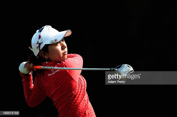 Mika Miyazato of Japan tees off during the second round of the Mizuno Classic at Kintetsu Kashikojima Country Club on November 3 2012 in Shima Japan