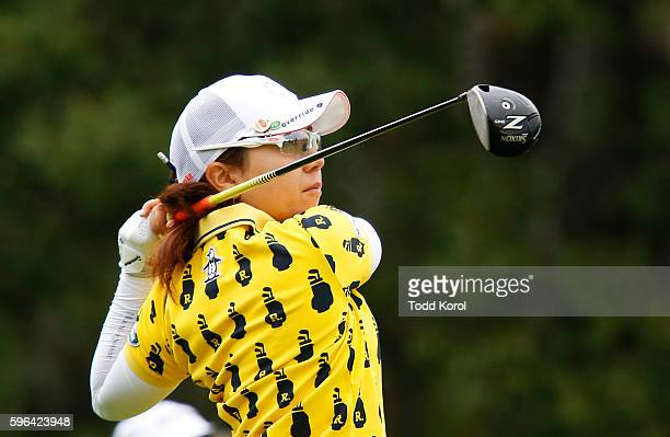 Mika Miyazato of Japan tees off on the 12th hole during the third round of the Canadian Pacific Women's Open at Priddis Greens Golf and Country Club...