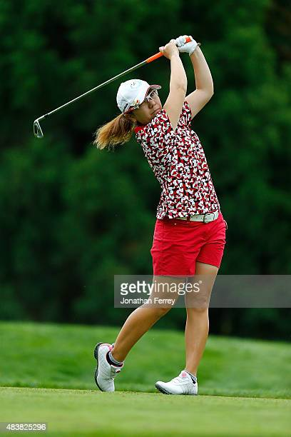 Mika Miyazato of Japan tees off on the 2nd hole during the first round of the LPGA Cambia Portland Classic at Columbia Edgewater Country Club on...