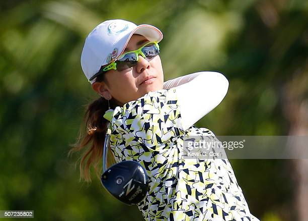 Mika Miyazato of Japan tees off the fourth hole during the first round of the Pure Silk Bahamas LPGA Classic at the Ocean Club Golf Course on January...