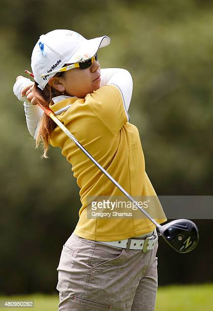 Mika Miyazato of Japan watches her tee shot on the seventh hole during the first round of the Marathon Classic presented by Owens Corning and OI at...