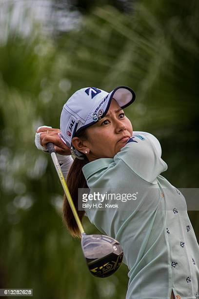 Mika Miyazato of Okinawa Japan plays a shot in the Fubon Taiwan LPGA Championship on October 8 2016 in Taipei Taiwan
