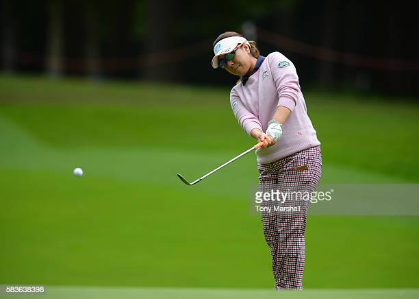 Mika Miyazoto of Japan chips on to the 4th green during the Ricoh Women's British Open Previews at Woburn Golf Club on July 27 2016 in Woburn England