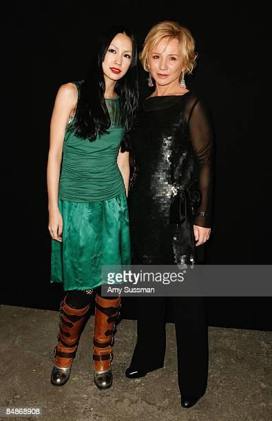 Mika Nakashima and Alberta Ferretti designer attend the Philosophy Di Alberta Ferretti Presentation during MercedesBenz Fashion Week 2009 at the...