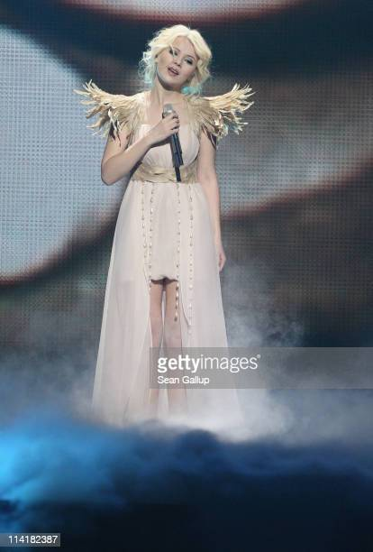 Mika Newton of Ukraine performs in the grand finale of the Eurovision Song Contest 2011 on May 14 2011 in Dusseldorf Germany