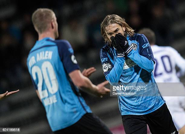 Mika Ojala of Aalen reacts during the third league match between VfR Aalen and VfL Osnabrueck at ScholzArena on November 18 2016 in Aalen Germany