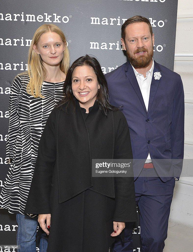Mika Pirainen, Sonya Dufner and Aino Maija Metsok and Spencer Bailey attend the Gotham Magazine Celebrates An Evening Of The Art Of Printmaking At Marimmeko on November 8, 2013 in New York City.