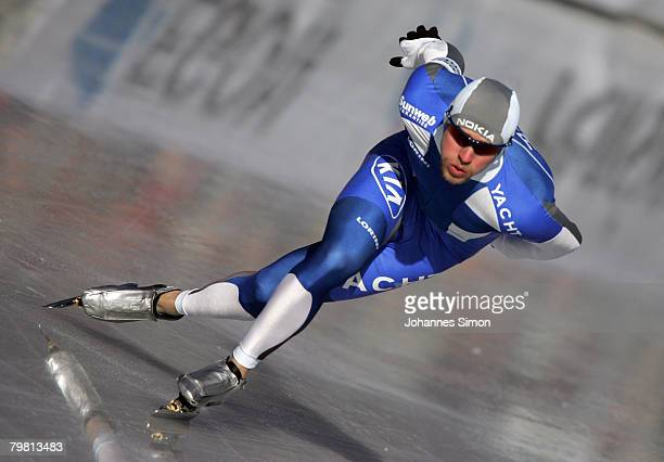 Mika Poutala of Finland competes in the 500m heats during Day 2 of the Essent ISU Speed Skating World Cup at the Ludwig Schwabl Eisstadion on...