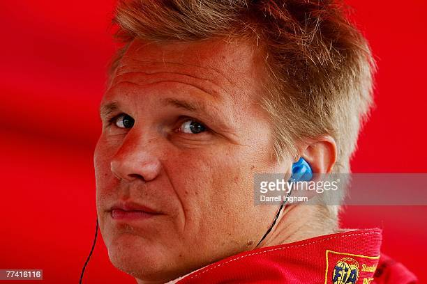Mika Salo driver of the Risi Competizione Ferrari 430 GT during practice for the American Le Mans Series Monterey Sports Car Championship on October...