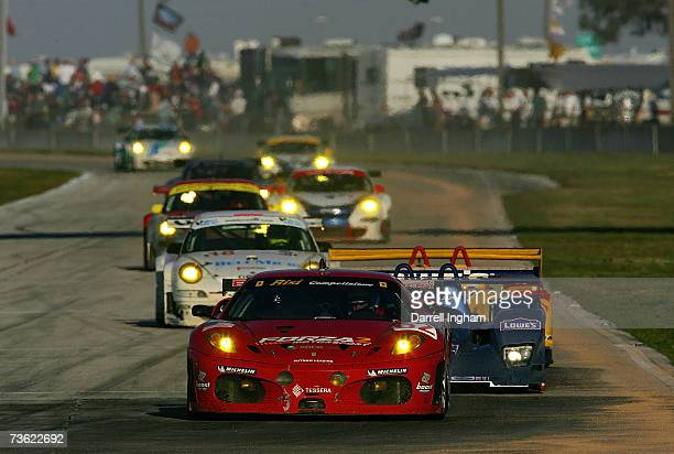 Mika Salo drives the GT2 Risi Competizione Ferrari 430GT during the American Le Mans Series 55th Annual Mobil 1 Twelve hours of Sebring at the...