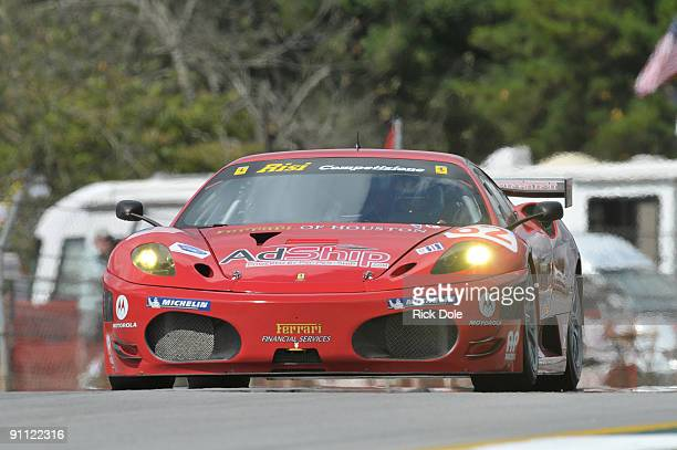 Mika Salo drives the Risi Competizione Ferrari 430 GT during practice for the American Le Mans Series Petit Le Mans at Road Atlanta September 24 2009...