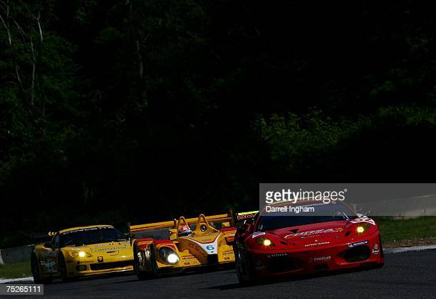 Mika Salo drives the Risi Competizione Ferrari 430 GT2 during the American Le Mans Series Northeast Grand Prix on July 7 2007 at Lime Rock Park in...