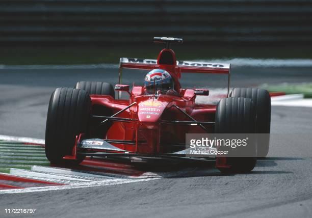 Mika Salo of Finland drives the Scuderia Ferrari Marlboro Ferrari F399 during the Italian Grand Prix on 12th September 1999 at the Autodromo...