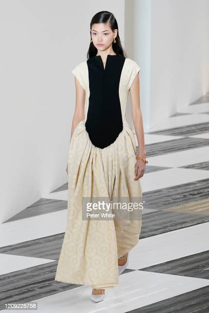 Mika Schneider walks the runway during the Loewe show as part of the Paris Fashion Week Womenswear Fall/Winter 2020/2021 on February 28 2020 in Paris...