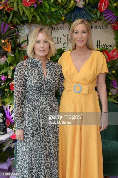 Mika Simmons and Laura Pradelska attend the launch of the PerrierJouet Champagne Terrace at Harrods on March 27 2019 in London England