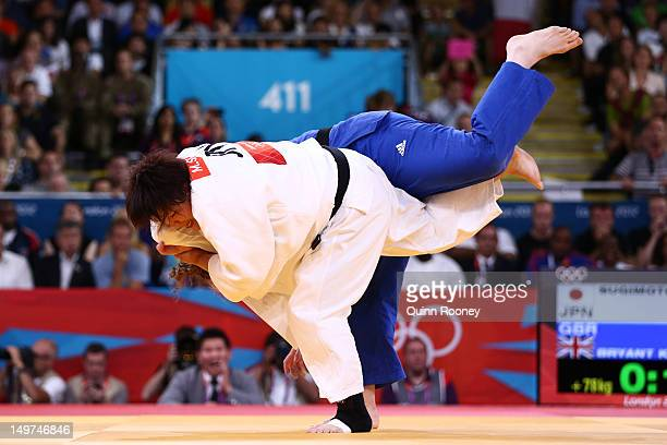 Mika Sugimoto of Japan and Karina Bryant of Great Britain compete in the Women's 78 kg Judo on Day 7 of the London 2012 Olympic Games at ExCeL on...