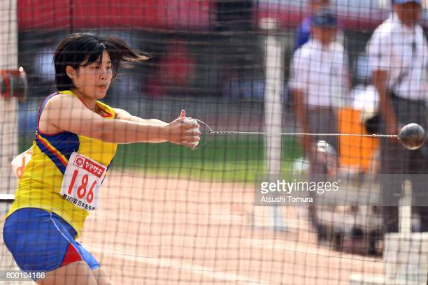 Mika Takekawa of Japan competes in the Women Hammer throw during the 101st Japan National Championships at Yanmar Stadium Nagai on June 23 2017 in...