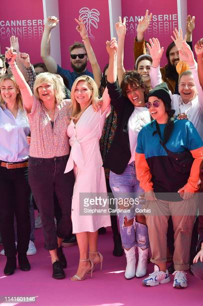 Mika Tard Katheryn Winnick Amel Bent Melha Bedia and Benoit Louvet attend the signature of the gender parity charter during the 2nd Canneseries...