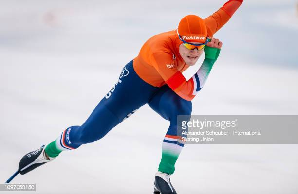 Mika van Essen of the Netherlands competes in the Mens 500m sprint race during the ISU Junior World Cup Speed Skating Final Day 2 on February 9 2019...
