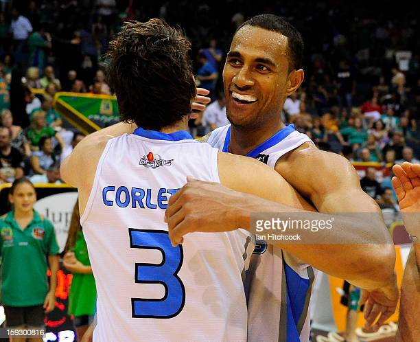Mika Vukona and Daryl Corletto of the Breakers celebrate after winning the round 14 NBL match between the Townsville Crocodiles and the New Zealand...