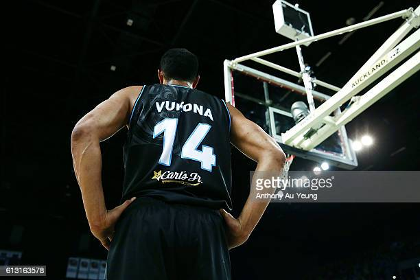 Mika Vukona of New Zealand takes a quick breather during the round one NBL match between the New Zealand Breakers and Melbourne United at Vector...