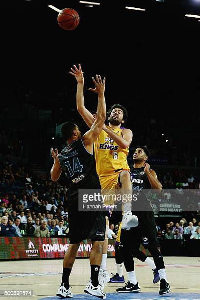 Mika Vukona of the Breakers defends with Corey Webster of the Breakers against Julian Khazzouh of the Kings during the round 10 NBL match between the...