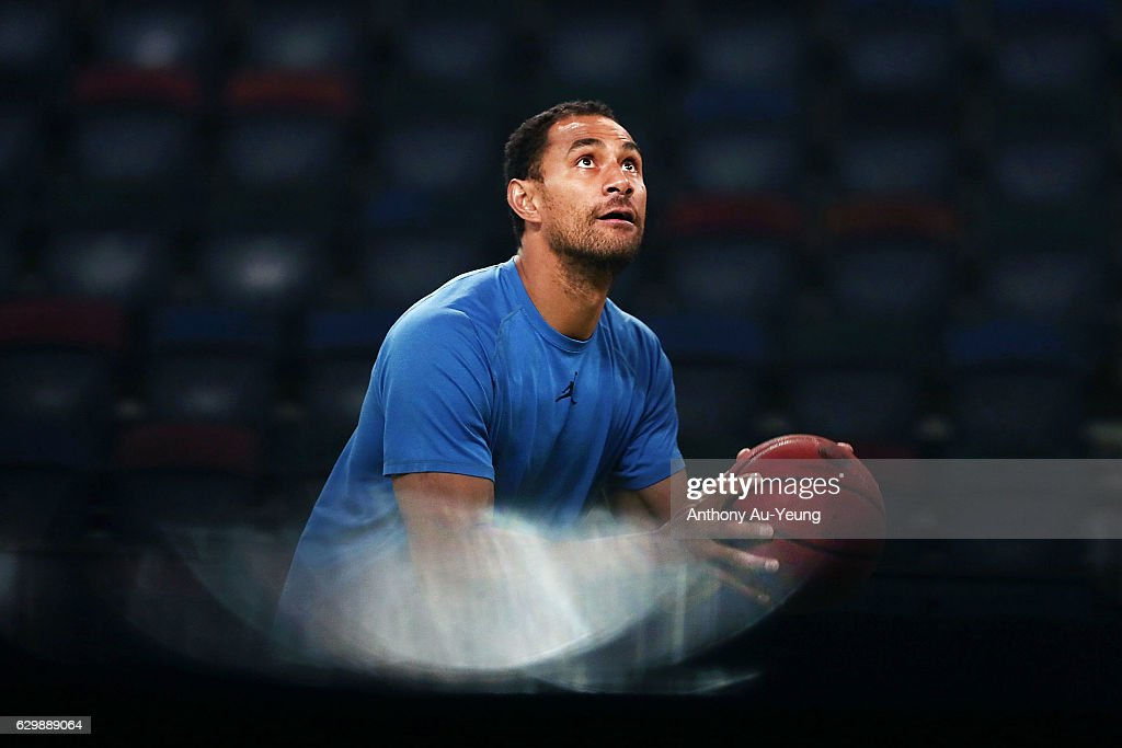 Mika Vukona of the Breakers during warm up prior to the round 11 NBL match between New Zealand Breakers and Perth Wildcats at Vector Arena on December 15, 2016 in Auckland, New Zealand.
