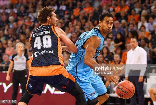 Mika Vukona of the Breakers looks to get past Alex Loughton of the Taipans during the round 15 NBL match between the Cairns Taipans and the New...