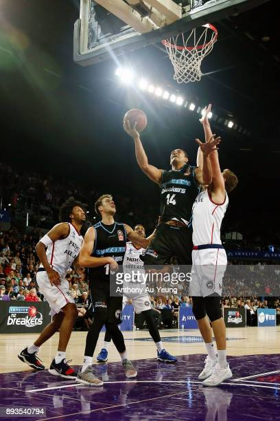 Mika Vukona of the Breakers puts up a shot during the round 10 NBL match between the New Zealand Breakers and the Adelaide 36ers at Spark Arena on...