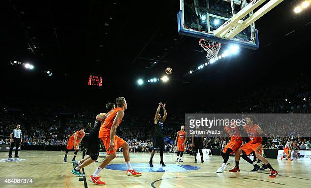 Mika Vukona of the Breakers shoots a free throw during the round 22 NBL match between New Zealand Breakers and the Cairns Taipans at Vector Arena on...