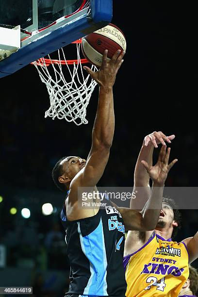 Mika Vukona of the Breakers shoots during the round 16 NBL match between the New Zealand Breakers and the Sydney Kings at Vector Arena on January 30...