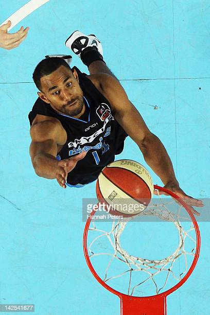 Mika Vukona of the Breakers takes shoots during game three of the NBL Finals series between the Townsville Crocodiles and the New Zealand Breakers at...