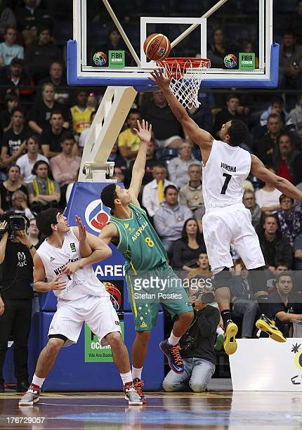 Mika Vukona of the Tall Blacks shoots during the Men's FIBA Oceania Championship match between the Australian Boomers and the New Zealand Tall Blacks...