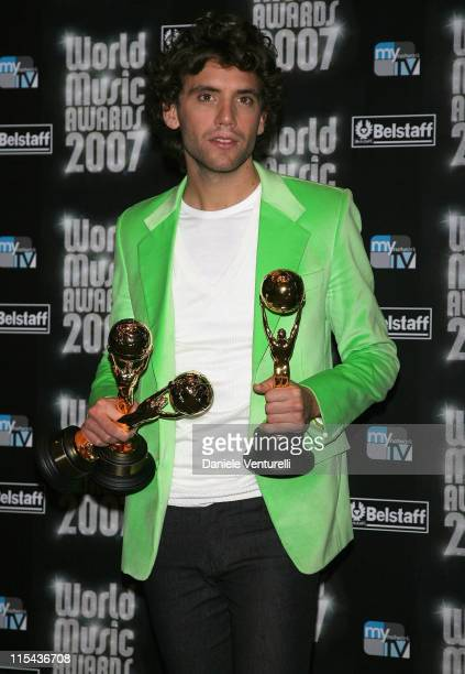 Mika with his awards on stage during the 2007 World Music Awards held at the Monte Carlo Sporting Club on November 4, 2007 in Monte Carlo, Monaco.