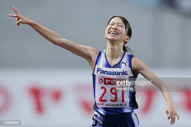 Mika Yoshikawa of Japan celebrates as she crosses the finish line to win the Women's 10000m final during day one of the 96th Japan National...