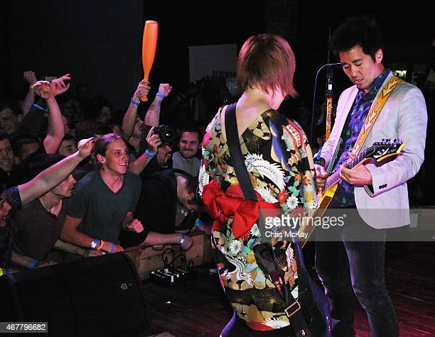 Mika Yoshimura of BoPeep and Kishi Bashi perform with PeelanderZ at Live Wire on March 26 2015 in Athens Georgia