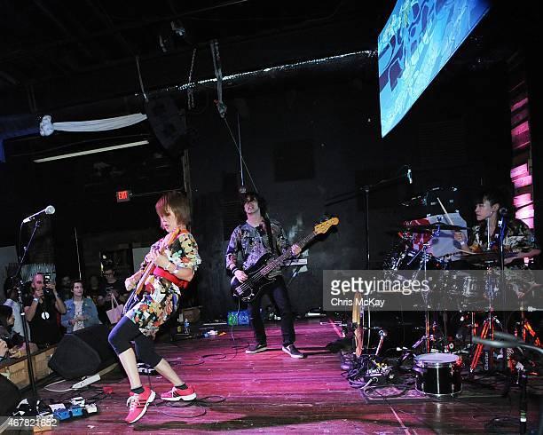 Mika Yoshimura Yoki Sujaku and Ryoko Nakano of BoPeep perform at Live Wire on March 26 2015 in Athens Georgia