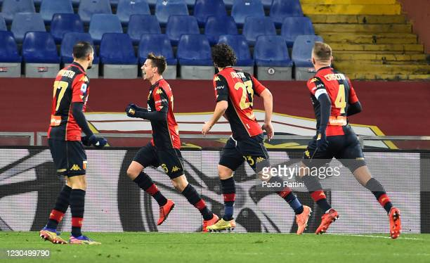 Mika Zajc of Genoa CFC celebrates after scoring the first goal of his team during the Serie A match between Genoa CFC and Bologna FC at Stadio Luigi...