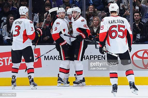 Mika Zibanejad Milan Michalek Marc Methot and Erik Karlsson of the Ottawa Senators celebrate Zibanejad's third period goal against the Los Angeles...