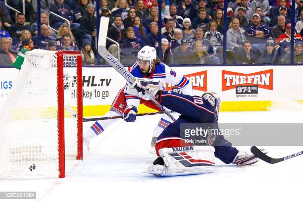 Mika Zibanejad of the New York Rangers beats Joonas Korpisalo of the Columbus Blue Jackets for a goal during the first period on November 10 2018 at...