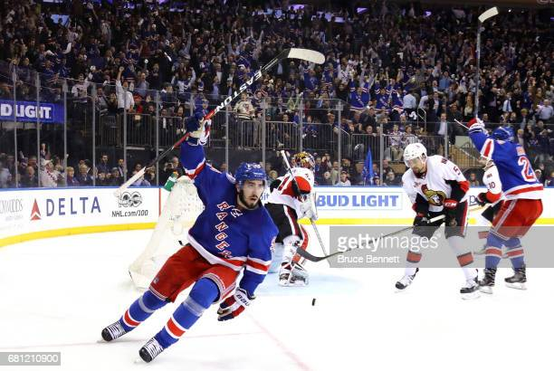 Mika Zibanejad of the New York Rangers celebrates after scoring a goal against Craig Anderson of the Ottawa Senators during the second period in Game...