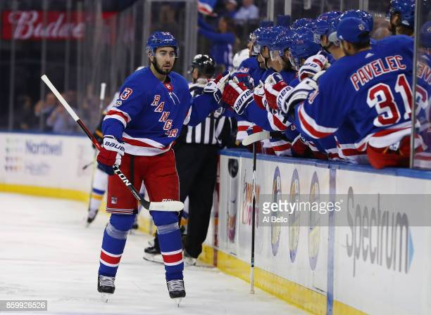 Mika Zibanejad of the New York Rangers celebrates his goal against the St Louis Blues during their game at Madison Square Garden on October 10 2017...