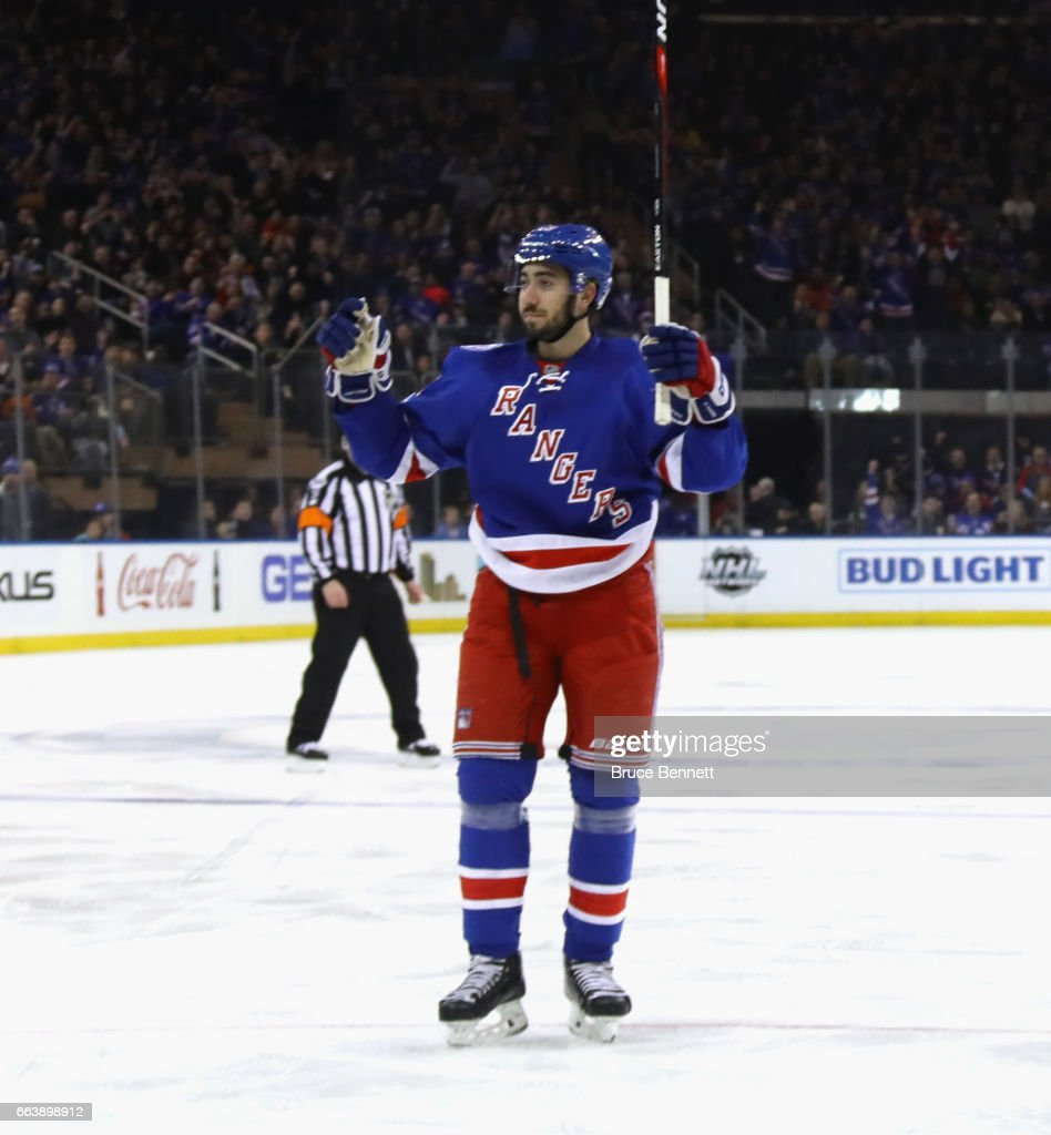 Mika Zibanejad #93 of the New York Rangers celebrates his second period goal against the Philadelphia Flyers at Madison Square Garden on April 2, 2017 in New York City. The Rangers defeated the Flyers 4-3.
