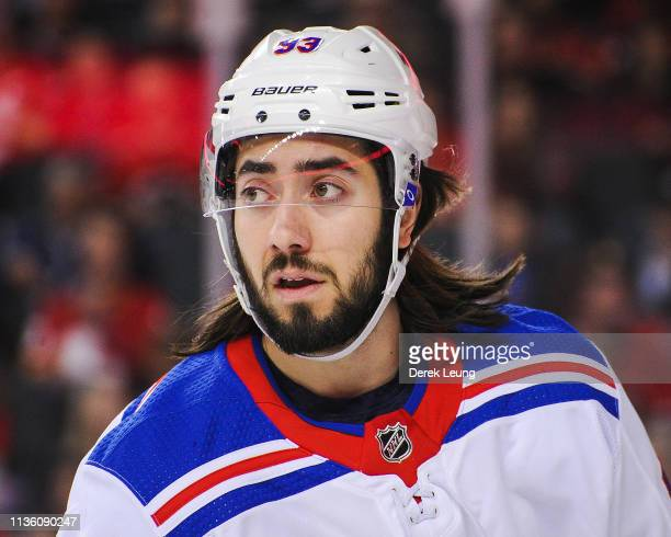 Mika Zibanejad of the New York Rangers in action against the Calgary Flames during an NHL game at Scotiabank Saddledome on March 15 2019 in Calgary...
