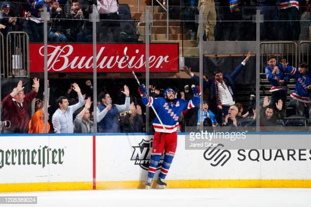 Mika Zibanejad of the New York Rangers reacts after scoring his fifth goal of the game and the game winner in overtime against the Washington...